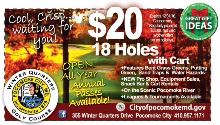 Fall weather is perfect golf weather!  Enjoy the crisp fall air on the greens at Winter Quarters Golf Course in Pocomoke, MD for just $20 for 18 holes with a cart with your Frugals coupon! Print it out at www.frugals.biz  www.cityofpocomoke.gov