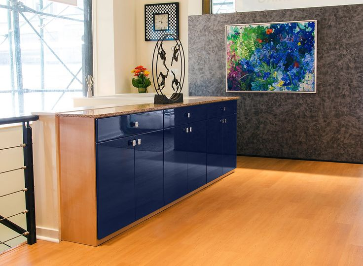 This Stylish Credenza Features Sapphire Blue Acrylic Doors U0026 Drawers W/ An  All Natural