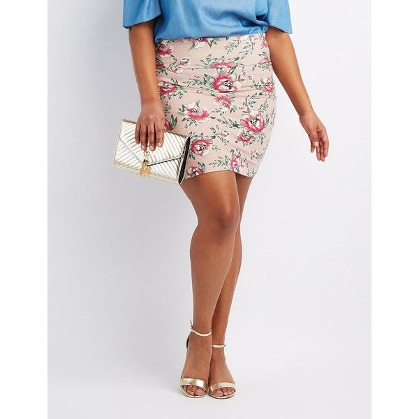 Charlotte Russe Floral Bodycon Mini Skirt ($14) ❤ liked on Polyvore featuring plus size women's fashion, plus size clothing, plus size skirts, plus size mini skirts, mauve combo, bodycon skirt, embellished mini skirt, short mini skirts and plus size short skirts