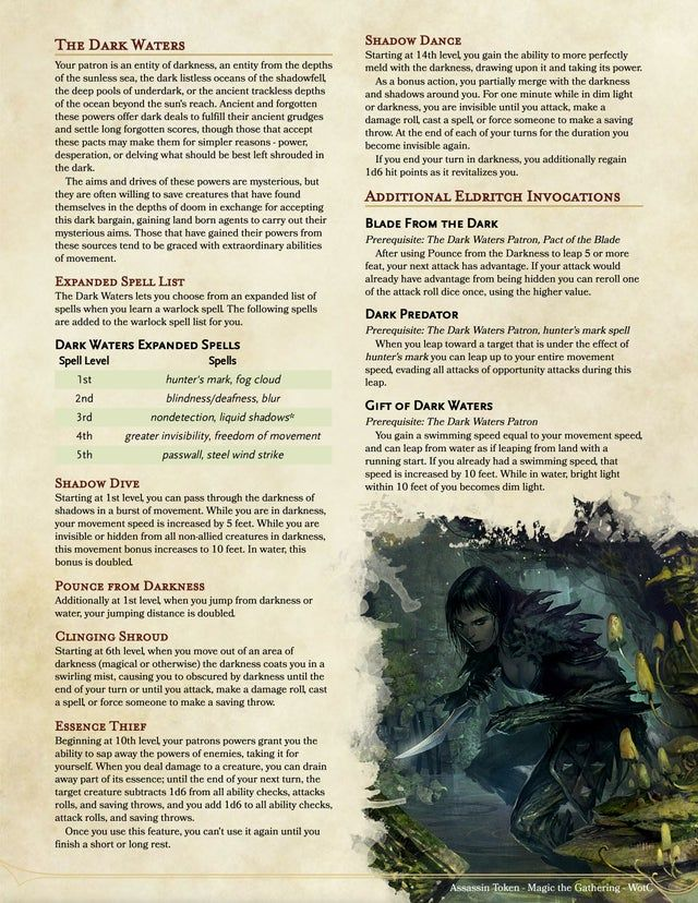Warlock The Dark Waters Patron Lurk In The Darkness And Pounce From The Glassy Black Dungeons And Dragons Homebrew Dungeons And Dragons Classes Dnd Classes