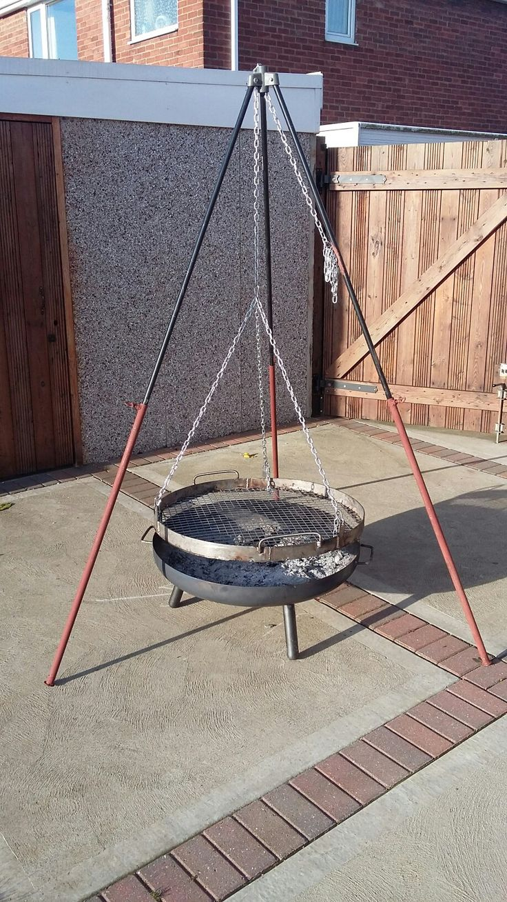 My home made stainless steel  bbq grill & tripod to fit over my fire pit