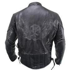 Ανδρικά Premium Μαύρο Συντετριμμένη-Δέρμα πετώντας κρανίο Racer Jacket