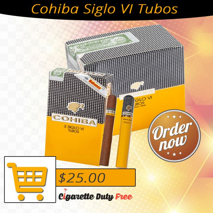 Buy premium Cohiba Siglo VI Tubos cigarettes for smoking and that too at discount rate. Cigar for Sale from Online Store - http://www.cigarettedutyfree.com/english/cigars/cohiba/cohiba-siglo-vi-tubos.html