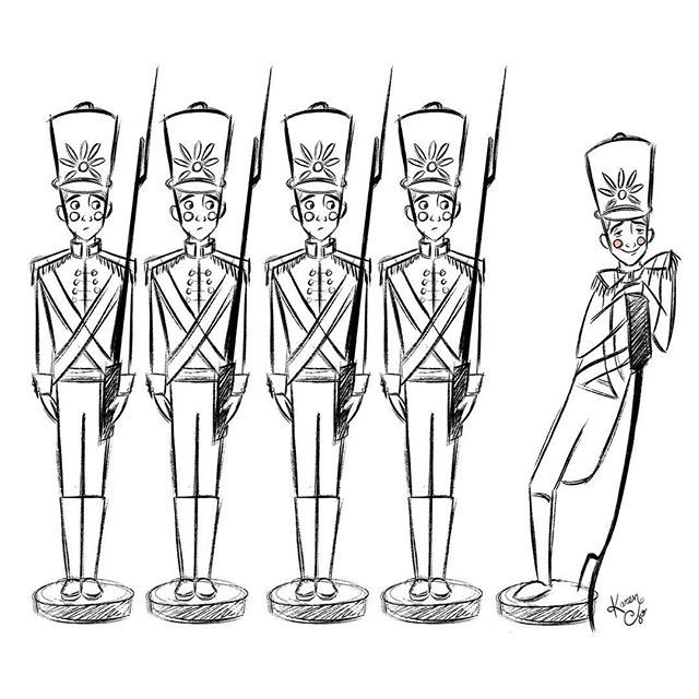 #tbt Tin soldier and his brothers... 😊✨#love #loveatfirstsight #drawing #sketch #tinsoldier #instaart #instalove #ballerina #igers #igart #brothers #soldaditodeplomo #dibujo #ilustración #digitalart #characterdesign
