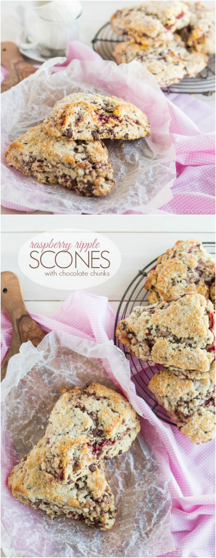 Buttery and Tender Scones ribboned with Raspberry and studded with Dark Chocolate- It doesn't get any better than this!