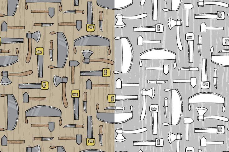 Seamless patterns with cute bearded lumberjacks