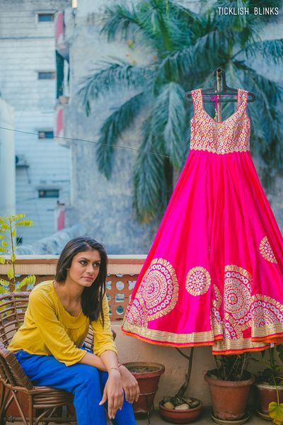 Indian Women Suits- Fuschia Pink Anarkali with Gota Work Bodice and Circular Borders | WedMeGood #wedmegood #indianbride #indianwedding #anarkali #indiansuit
