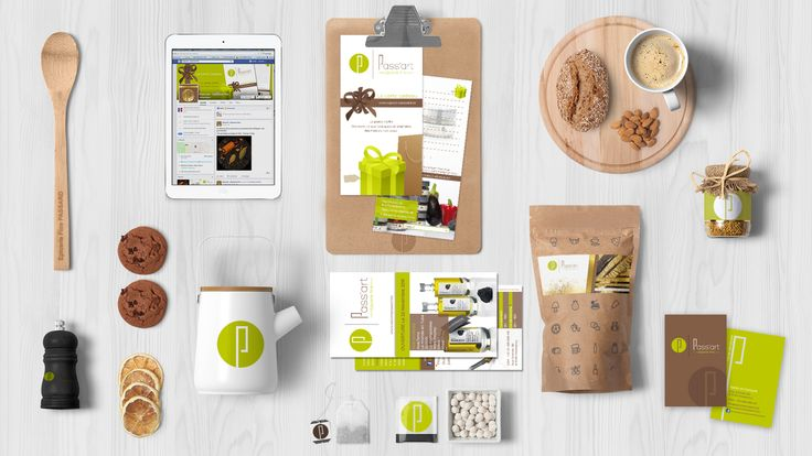 Passart - Epicerie Fine : Création d'une identité visuelle forte :logo, carte de visite, habillage vitrine, carte cadeau, rollup, bannières et images de profil facebook, flyer