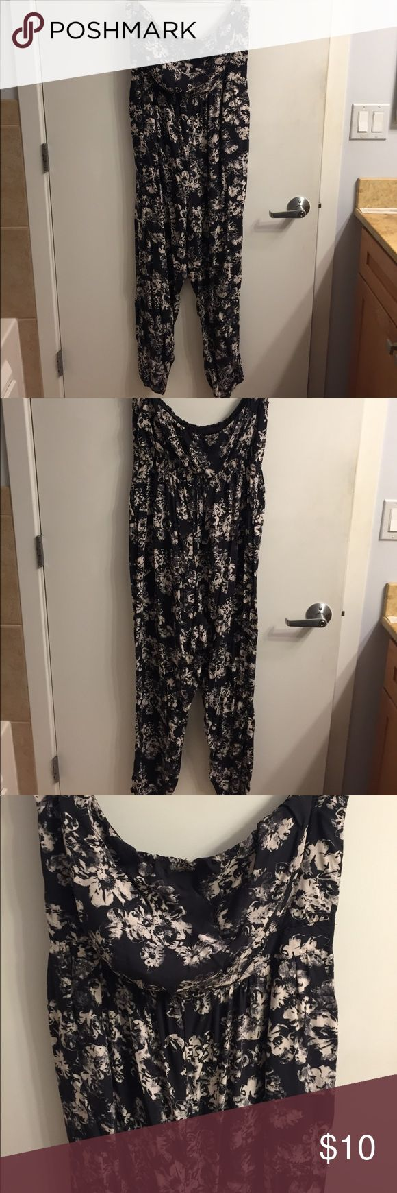 Ambar dressy romper This is an adorable dressy romper. I wore it to a rehearsal dinner for mg friends wedding. Dark grey background with cream floral design. Only worn once. Bandeau top. ambar Other