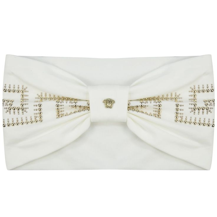 Young Versace Girls White & Gold Studded Fret Print Headband with Bow Detail