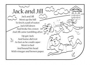 <p>Nursery rhymes are a great way to introduce your child to rhythm, music and early literacy and numeracy skills. Print this nursery rhyme activity, so your child can have fun colouring in the picture and singing along to Jack and Jill!</p>