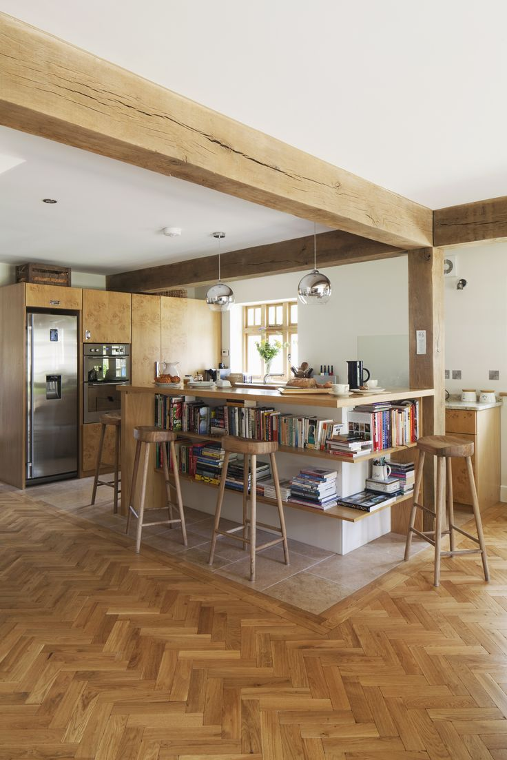 8 best new build rottingdean images on pinterest brighton new kitchen island breakfast bar with lots of shelving parquet flooring feature timber structure treated timbercottage style