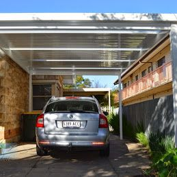 My Dezign Exteriors - Google+ The Simple lines of a skillion roof carport can be perfect to meet the style of a home - Using #Colorbond™   Thredbo White® in a high gloss finish and some Ampelite Opal light panels also adds a special element and allows ample light to reach the windows