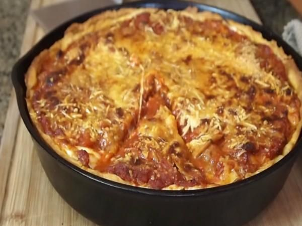 Meat Lover's Deep Dish Pizza Recipe.