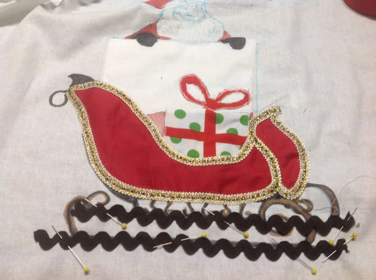 This is my attempt at making a sleigh, using scraps. I am yet to find a place to sew it!