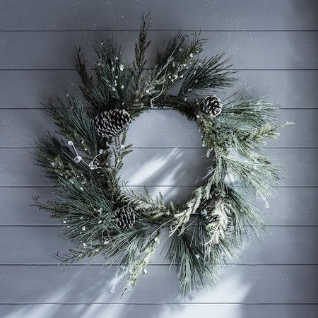 60cm Whistler Frosted Christmas Wreath