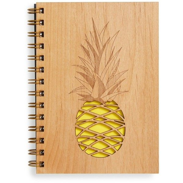 Cardtorial 'Pineapple' Wood Cover Journal ❤ liked on Polyvore featuring home, home decor and stationery