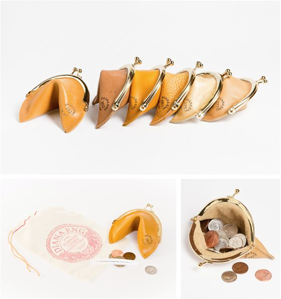 Fortune Cookie Coin Purses from Diana Eng. I don't want to own one, but I want someone I know to own one, so I can see it.