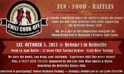 Chili Cook-Off and Raffle to Benefit the Beltsville Rotary Saturday, October 5  Enjoy delicious chili prepared by some of Maryland's Premier Chili Cooks of the Mason Dixon Pod and some competitive guest groups.  Also, we will have Craft Beer Tasting sponsored by Old Line, Fine Wine & Bistro to benefit the Beltsville Rotary Club