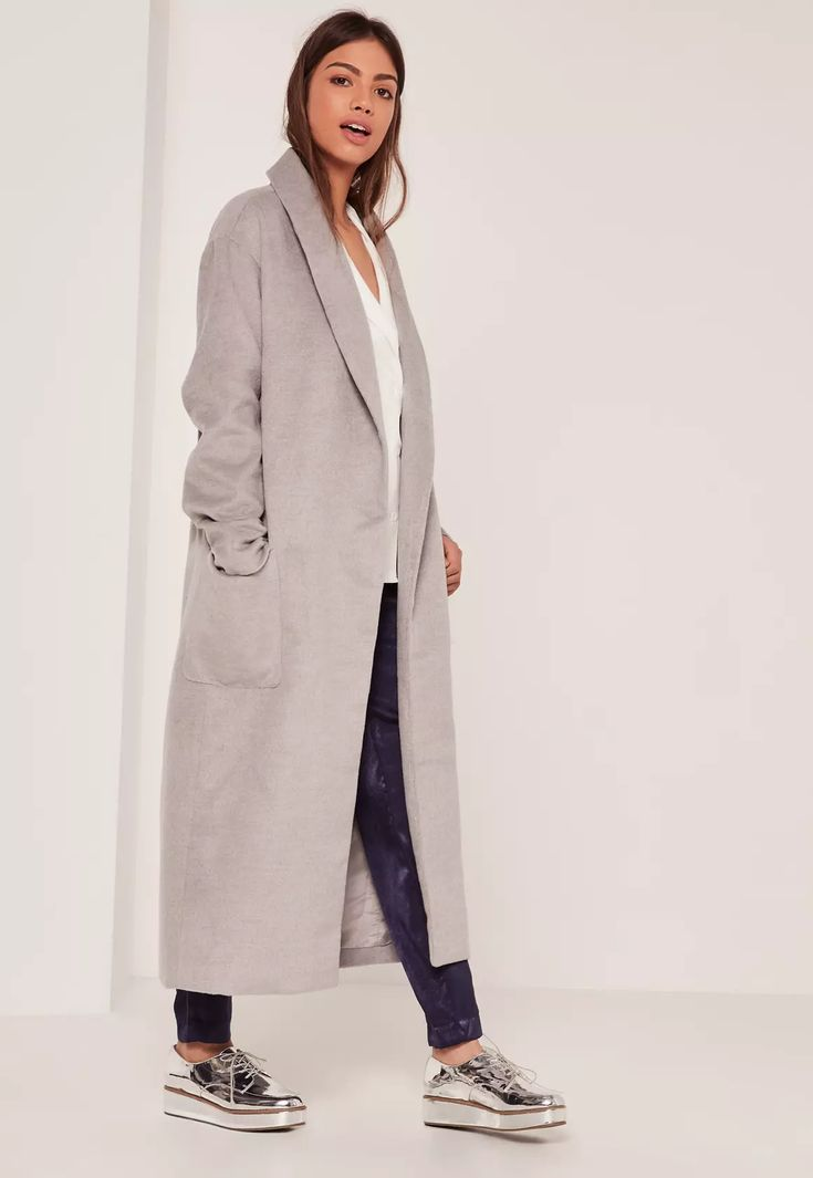 go for super chic vibes in this grey maxi coat.