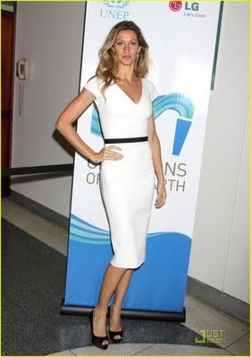 High Heels & Bikinis: Gisele Bundchen: Victoria Beckham Designed White Dress