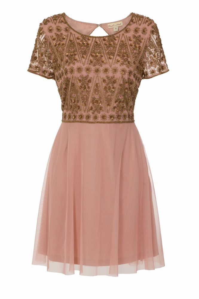 Pink Skater Dress Bronze Embellished Mini Fit and Flare Party Occasion Size 10