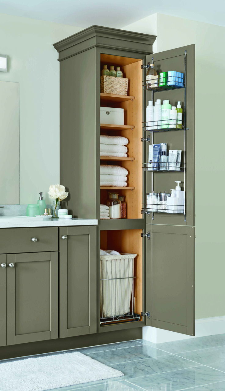 A linen closet with four adjustable shelves, a chrome door rack, and a pull out hamper helps keep your home neat and organized. #MarthaStewartLiving Cabinetry  at The Home Depot.