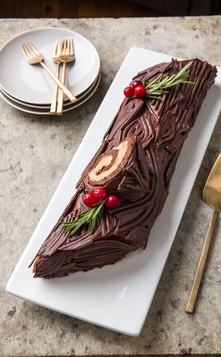 Yule Log. In terms of showstopping Christmas desserts, a Yule Log does the trick: Our recipe showcases a velvety texture and a not-too-sweet chocolate flavor.