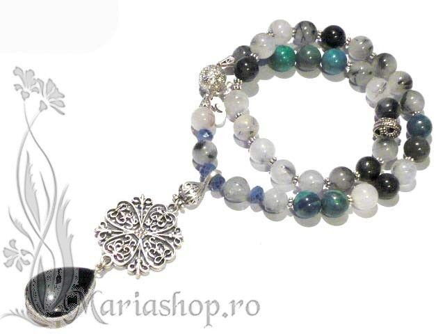 Azurite, tourmalinated quartz, little czech glass, onyx, and silver plated metal.