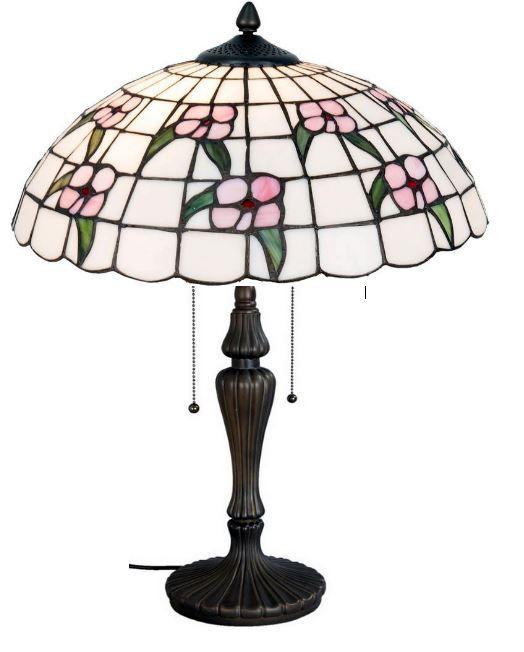 41cm ø TIFFANY-Tisch-Lampe, unsere Serie INVERNESS.  Ø 41*60 cm 2x E27 max je 60w        mit praktischer Zug-Schaltung.  sehr helles Glas, mit dezent eingearbeiteten rose-farbigen Blüten und pass. grünen Blättern.