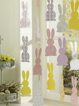 DIY easter bunnies window decoration
