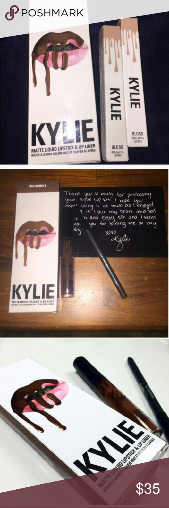 """NWTKylie Jenner """"TRUE BROWN K with special note NWT Kylie Jenner TRUE BROWN K with special note, includes :Kylie Jenner matte liquid lipstick and lip liner .  Also includes :Kylie Jenner TRUE BROWN K box from original store. ...Liquid lipstick color is a deep brown. Same as liner.  100?authentication , Brand new! Never used. Great for a gift or to get that """"Kylie Jenner pout"""",! Selling this beautiful set for a great price! Lowering the price temporarily. Get it now! Kylie Cosmetics Makeup…"""