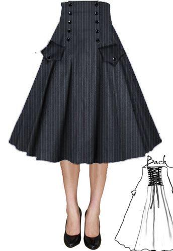 Steampunk Button Front Full Skirt by Amber Middaugh ( Eu, particulamente, não colocaria os bolsos)