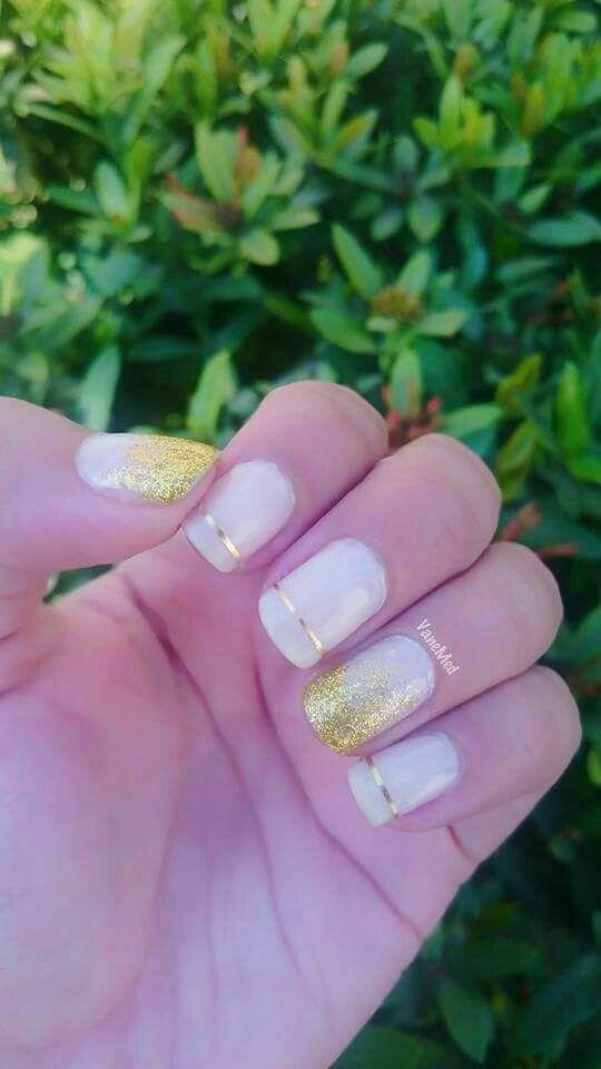 Mis uñitas angelicales!  #nude #Gold #line #glitter #shine #brillo #dorado #angelical