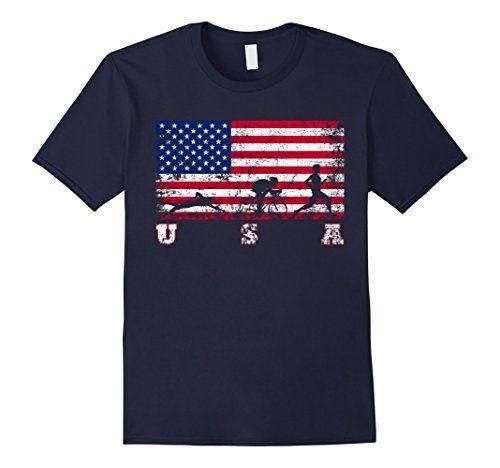 Men's Triathlon Team Gift - American Flag Triathlon Shirt Large Navy - http://www.exercisejoy.com/mens-triathlon-team-gift-american-flag-triathlon-shirt-large-navy/fitness/