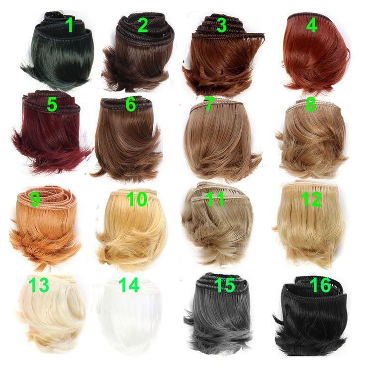 1 piece 5 cm hitam putih warna coklat lurus rambut untuk 1/3 1/4 bjd boneka boneka diy rambut