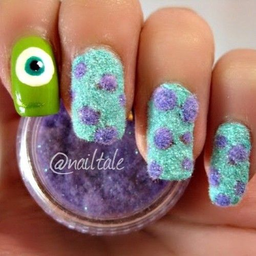 (4) disney nails monster inc or u furry fuzzy sulley and mike nails @Susie Sun Sun Lancaster for lil monster