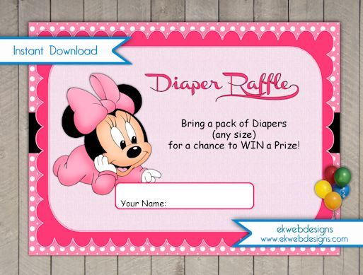 Baby Minnie Diaper Raffle Tickets - Instant Download