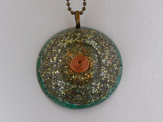 Green Orgonite Pendant by MarionCrystal on Etsy