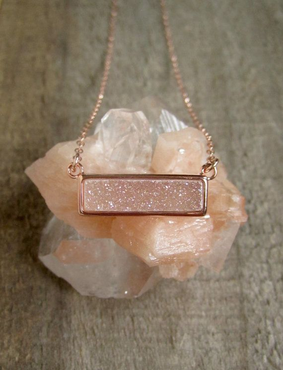 Rose Gold Druzy Necklace Natural White AB Druzy by julianneblumlo