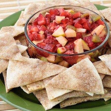 cinnamon tortilla chips and fruit salsa