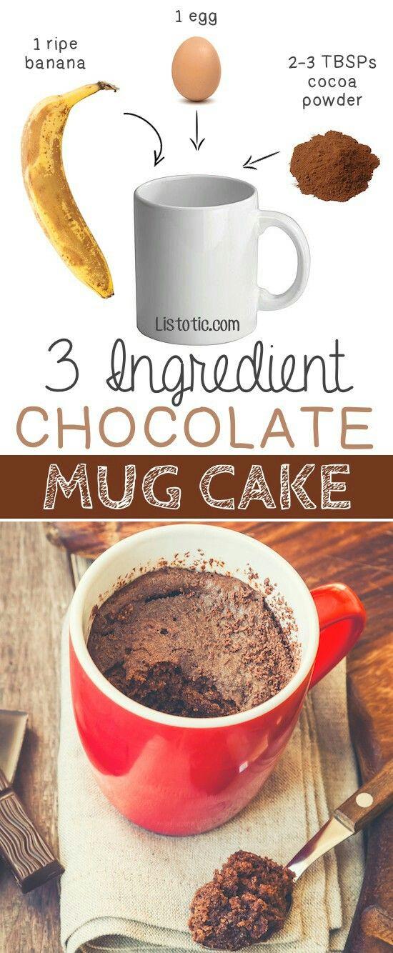 Pastel de Chocolate individual en taza con sólo 3 ingredientes!!! Mezcla los Ingredientes y hornea de 10 a15 mins. a 180° o en el Microondas minuto por minuto hasta obtener la consistencia desea.