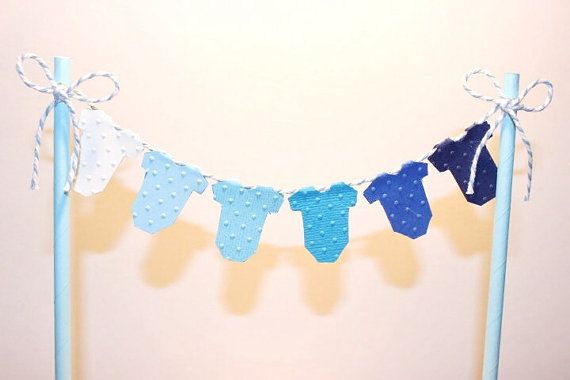 Cake Bunting/Cake Topper. Blue Ombre Baby One Piece. Baby Shower - Gender Reveal - First Birthday - Newborn Announcement - Child's Birthday.