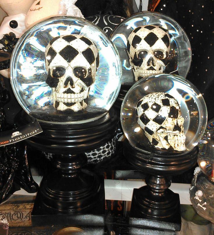 Home Goods Halloween 2015 Merchandise Collection Includes These Harlequin Skull Snowglobes