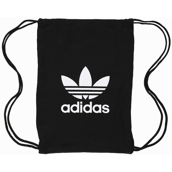 Adidas Originals Gymsack Tricot found on Polyvore featuring bags, handbags, accessories, black, womens-fashion, zip purse, zipper bag, adidas originals, drawstring sports bag and sport bag