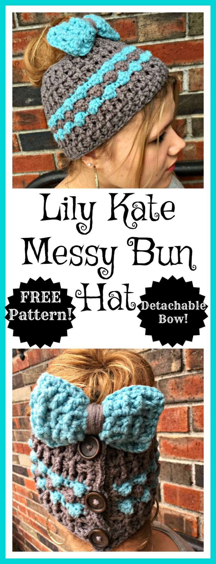 Free crochet pattern for a messy bun hat with detachable bow. This is so cute!