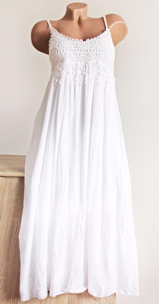 f4725ee20604a7 Sommer Kleid Maxikleid Häkelspitze Boho IBIZA HIPPIE weiß ca 36 38 40 Italy