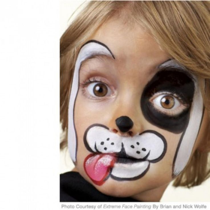 Simple, step-by-step face-painting instructions for gargoyle, tiger, t-rex dinosaur, cute dog, and spooky bat that kids will love for Halloween, birthday partiesor just plain dress-up