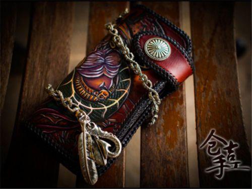 Handmade-biker-wallet-with-chain-men-Snake-Brown-Tooled-Handbag-Makkashop