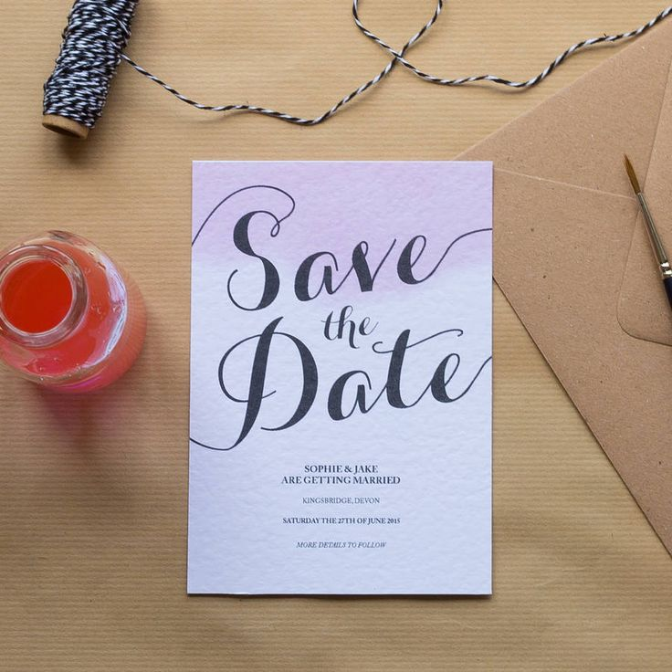 Blush Watercolour Wedding Invitations by Sincerely May